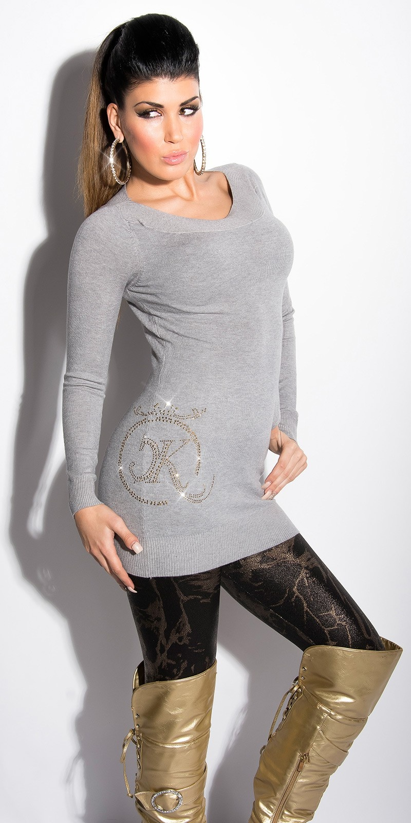 Sexy lange sweater-trui met strass steentjes en studs grijs