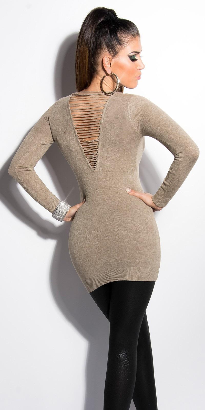 Sexy lange sweater-trui met parels taupe