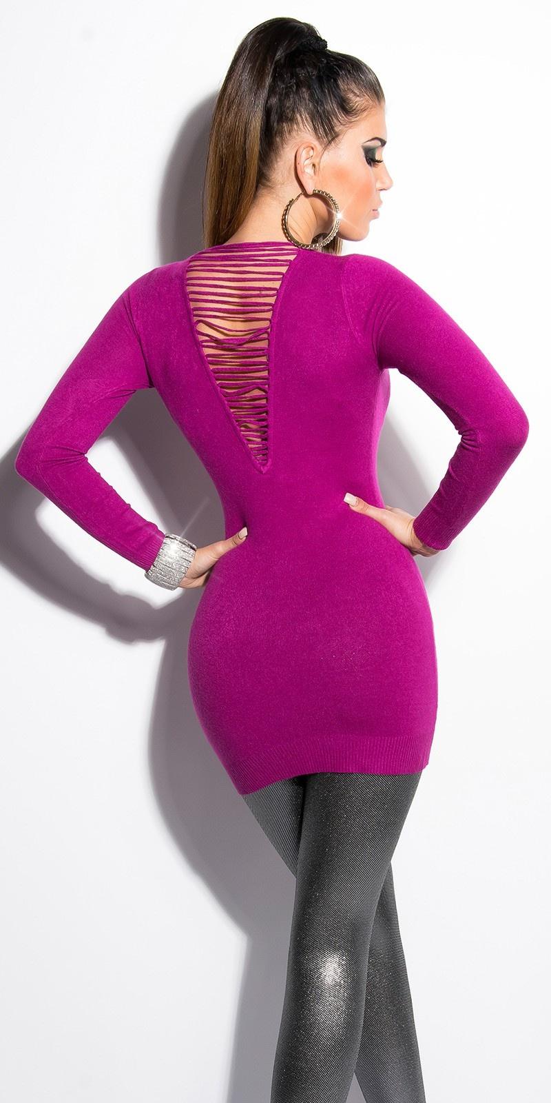 Sexy lange sweater-trui met parels paars