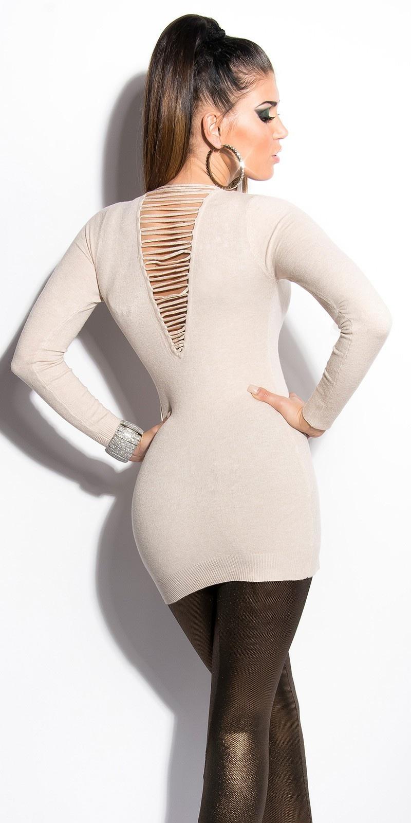 Sexy lange sweater-trui met parels beige
