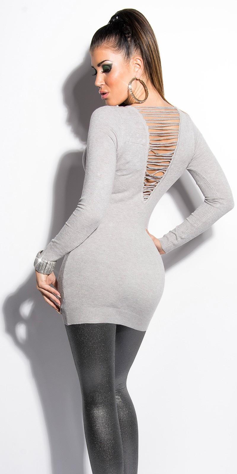 Sexy lange sweater-trui met parels grijs