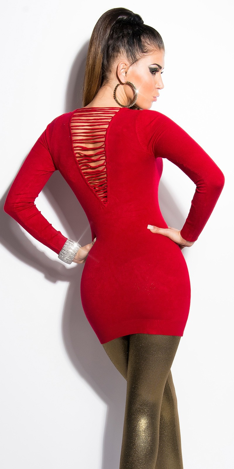 Sexy KouCla longsweater with pearls Red