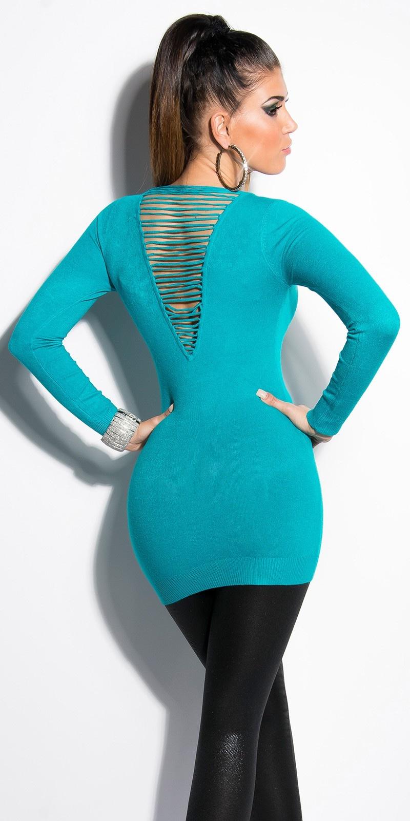 Sexy lange sweater-trui met parels saffierblauw