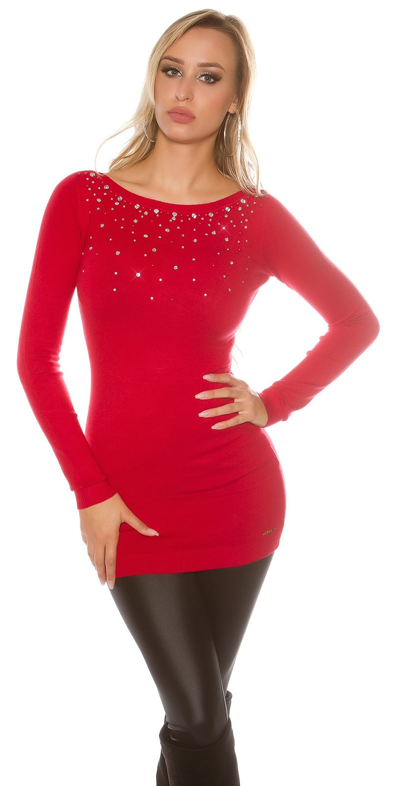 Sexy KouCla jumper Backless with strass u beads Red