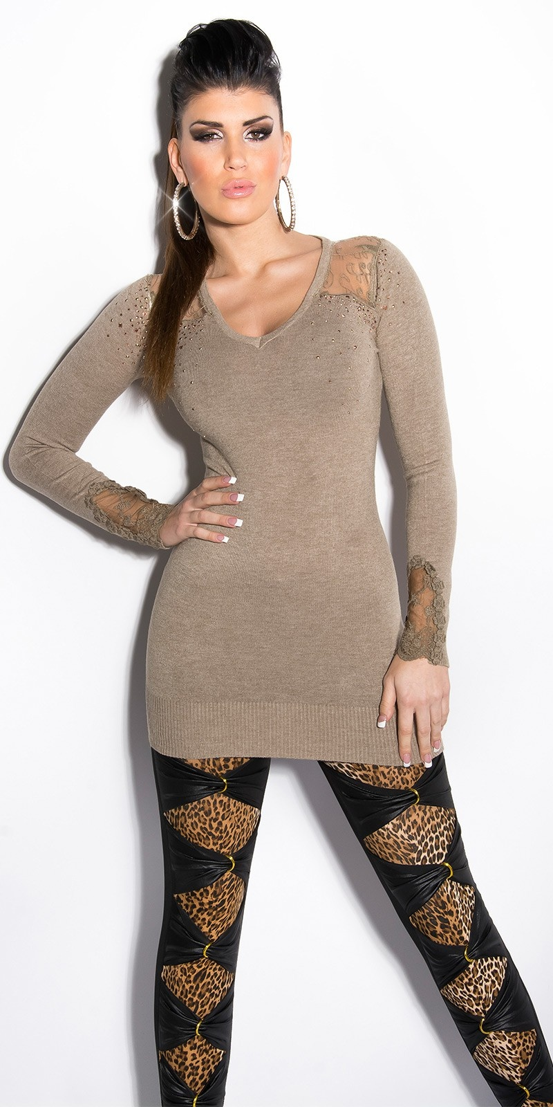 Sexy KouCla longsweater with lace and studs Taupe