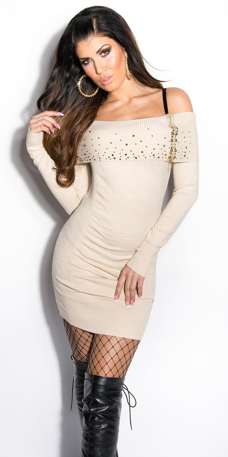 Sexy gebreid-mini jurkje met studs en ritssluiting beige