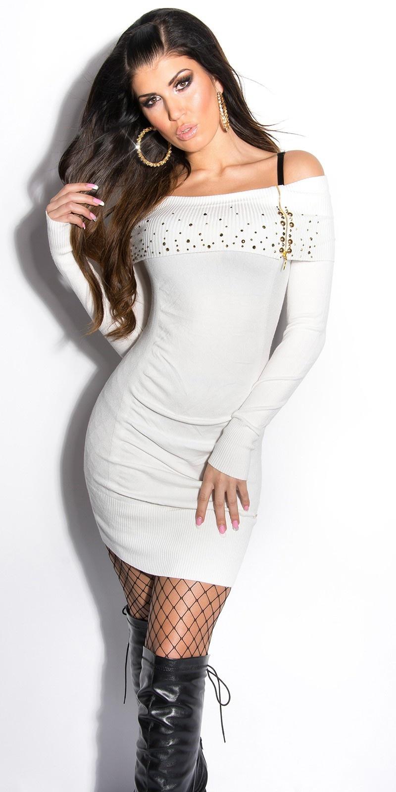 Sexy gebreid-mini jurkje met studs en ritssluiting wit