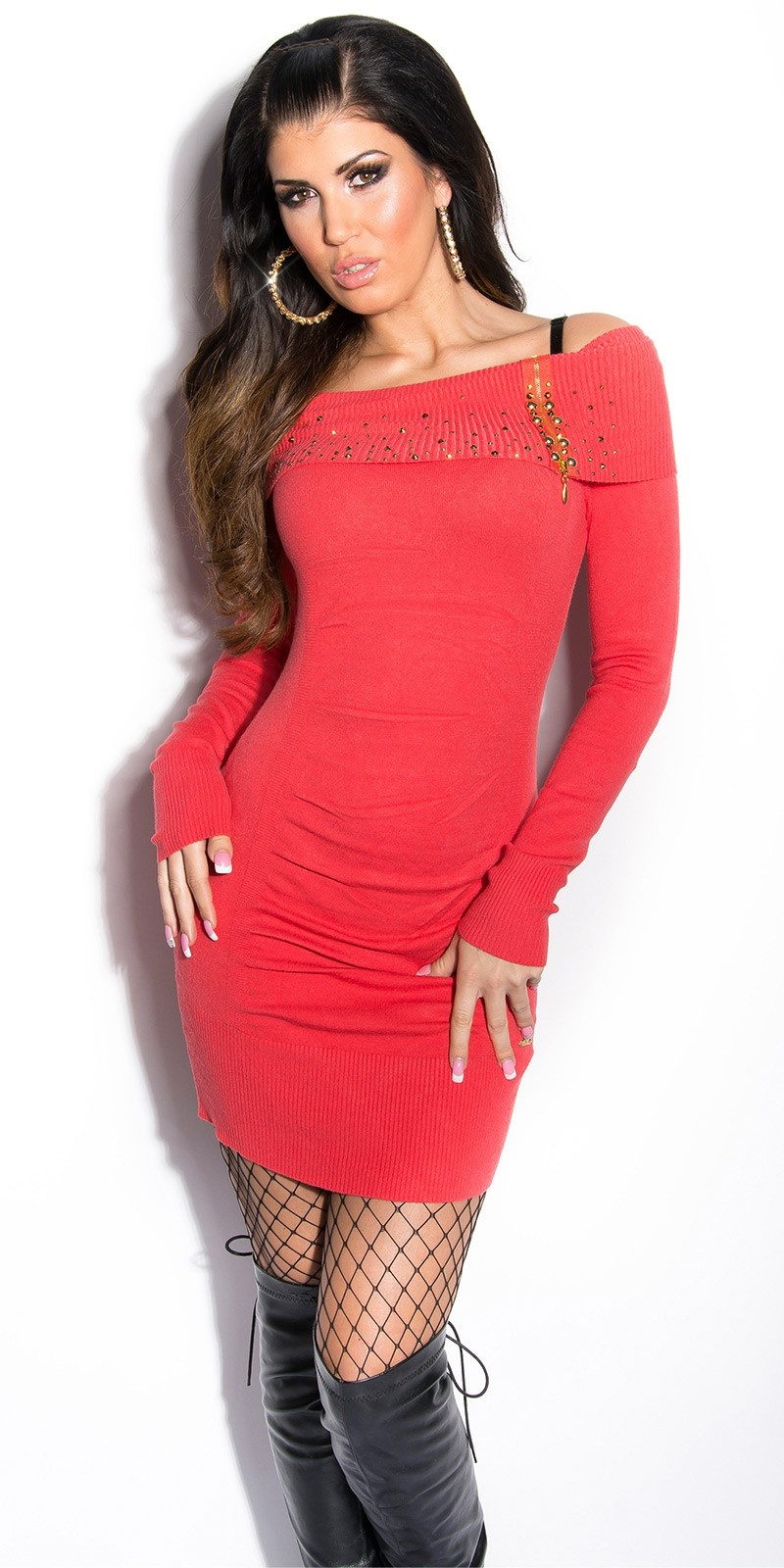 Sexy KouCla knit-minidress with studs and zip Coral