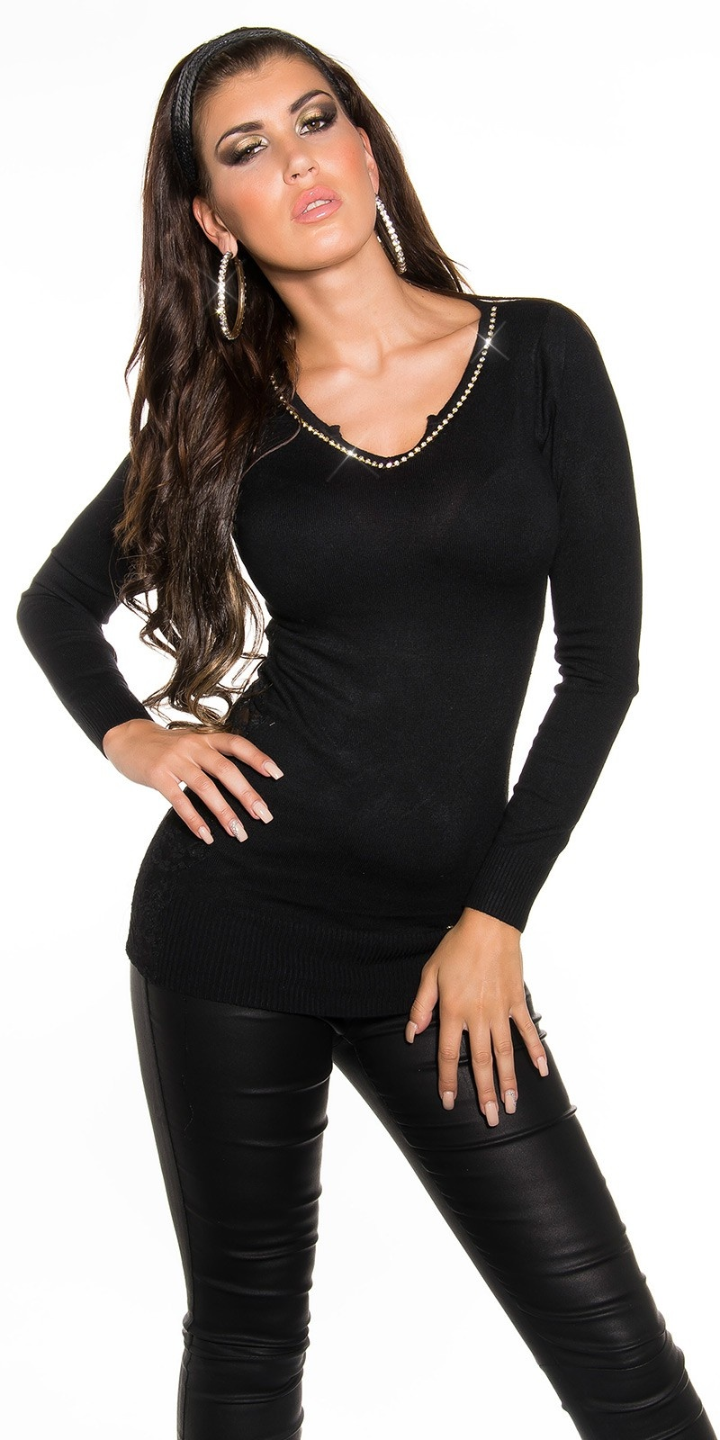 Sexy KouCla V-Cut sweater with rhinestones & lace Black