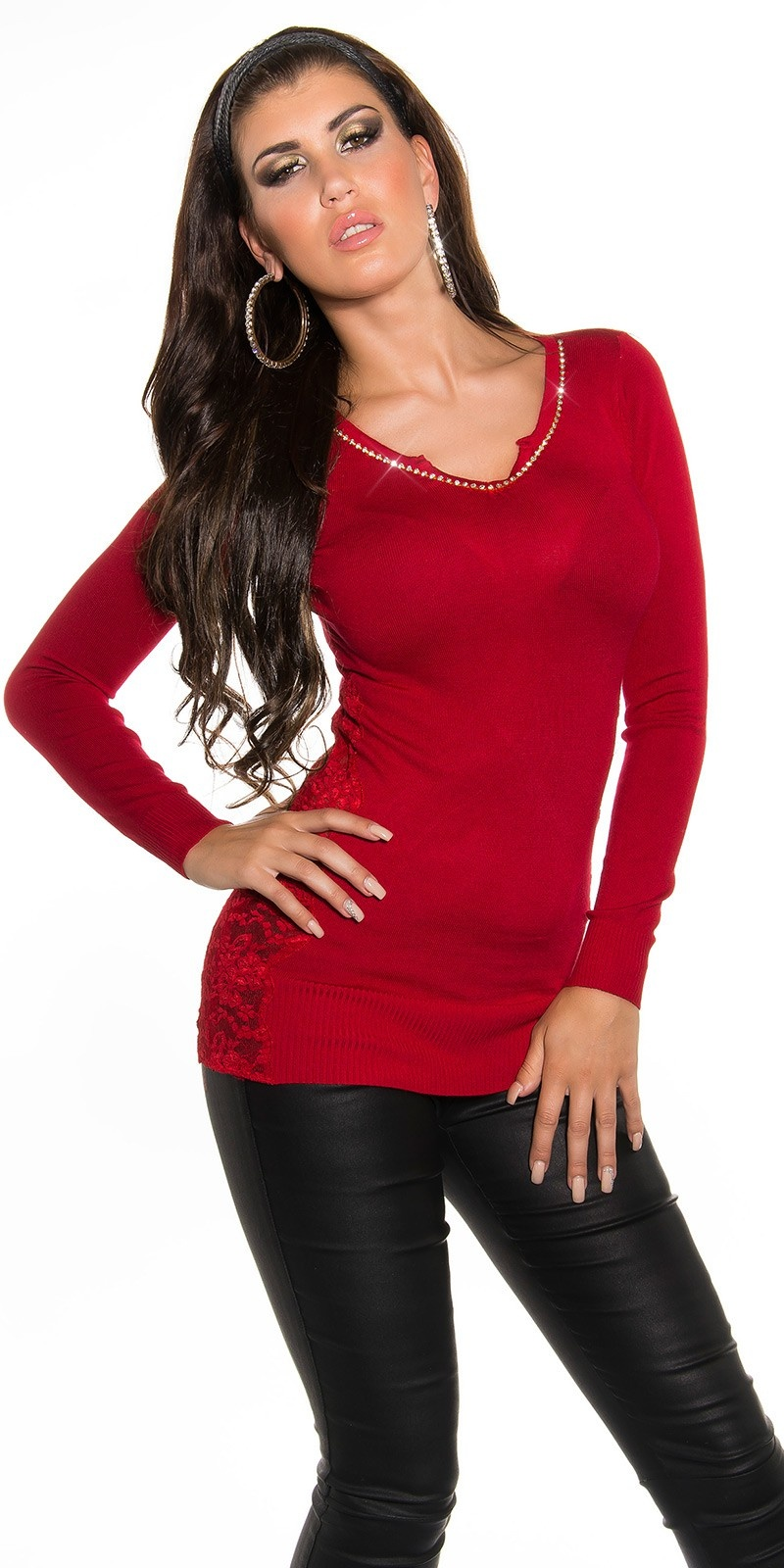Sexy v-hals sweater-trui met strass steentjes & kant rood