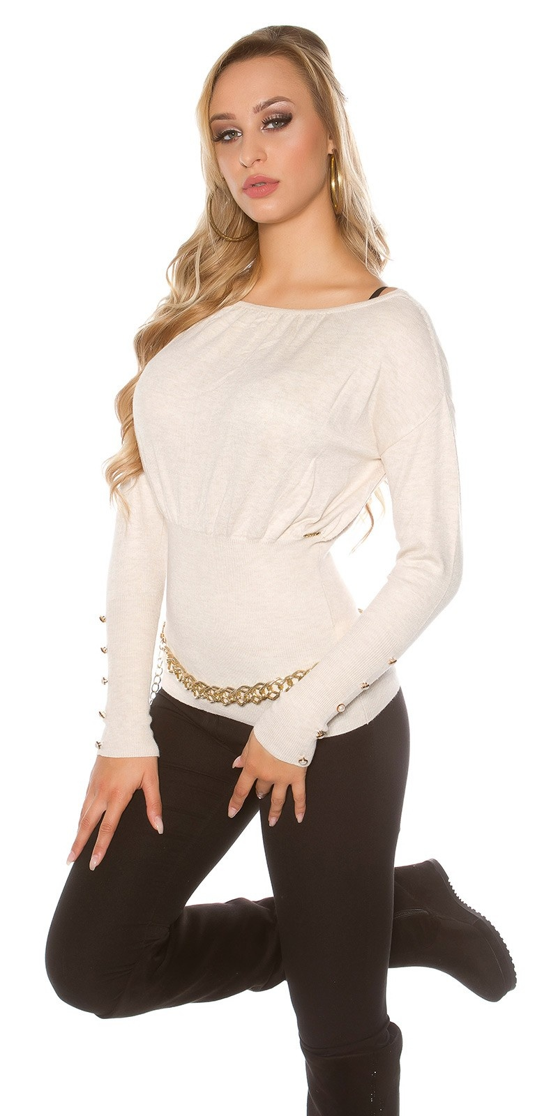 Sexy KouCla sweater with buttons and bows Beige