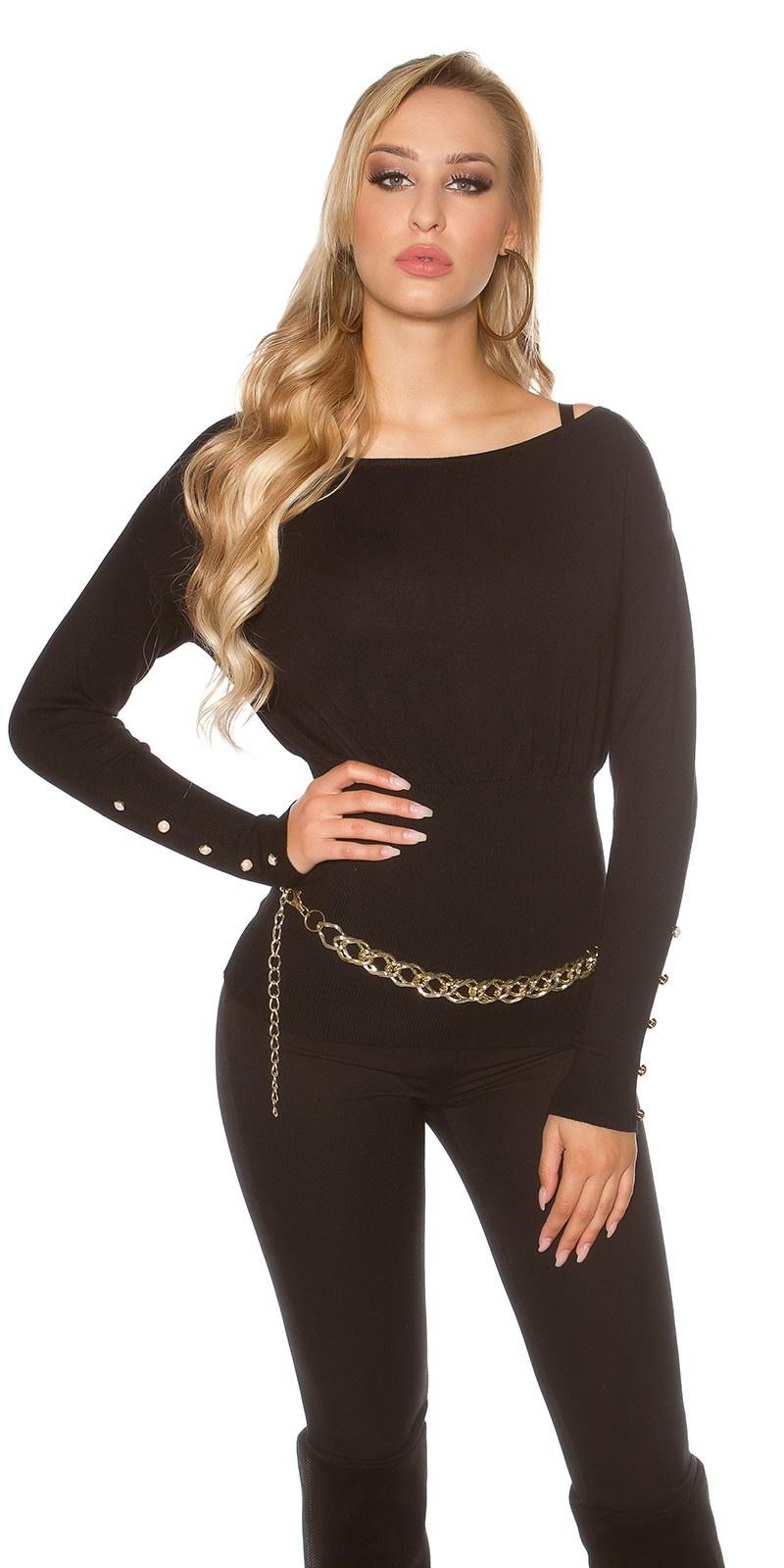 Sexy sweater-trui met knopen en strikjes zwart