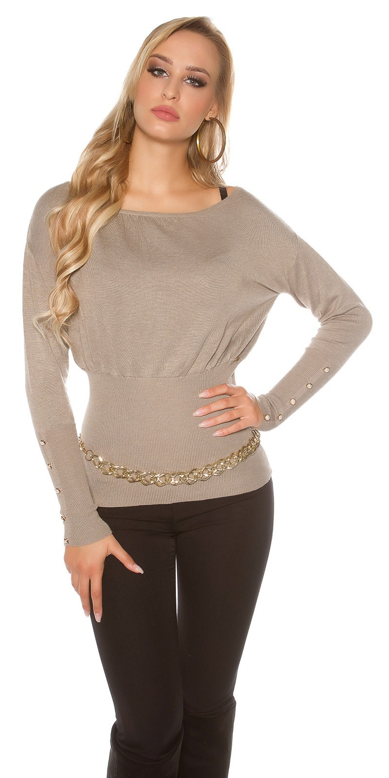 Sexy KouCla sweater with buttons and bows Cappuccino