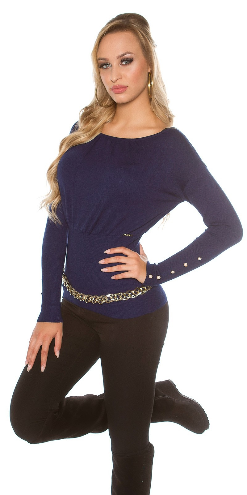 Sexy KouCla sweater with buttons and bows Navy