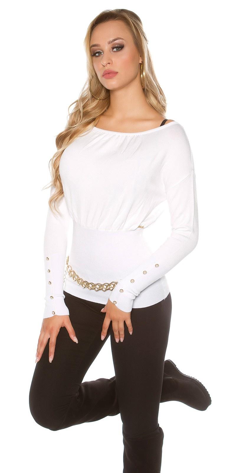 Sexy sweater-trui met knopen en strikjes wit