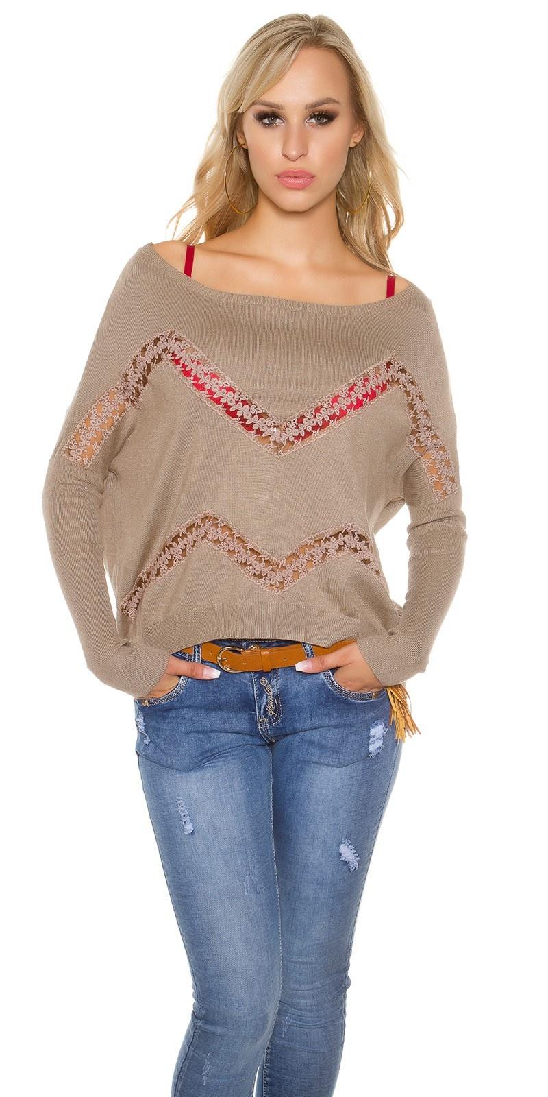 Trendy pullover met kant en strass steentjes taupe