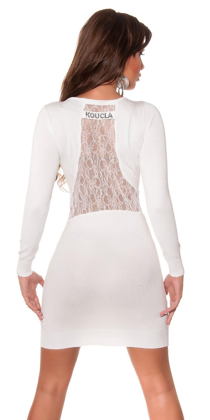 Trendy gebreide jurk open rug met kant wit