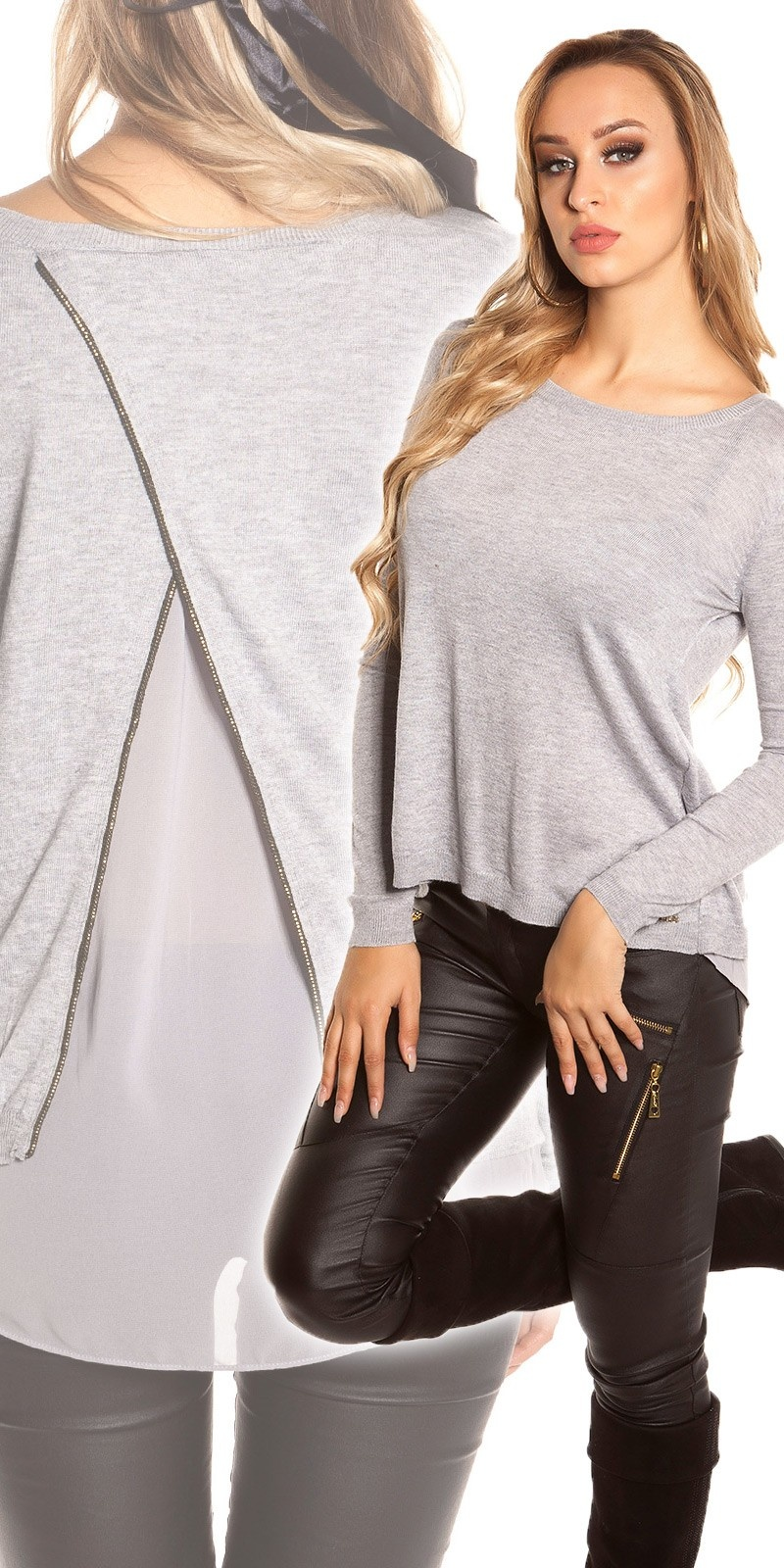 Trendy Koucla 2in1 pullover with mullet cut Grey