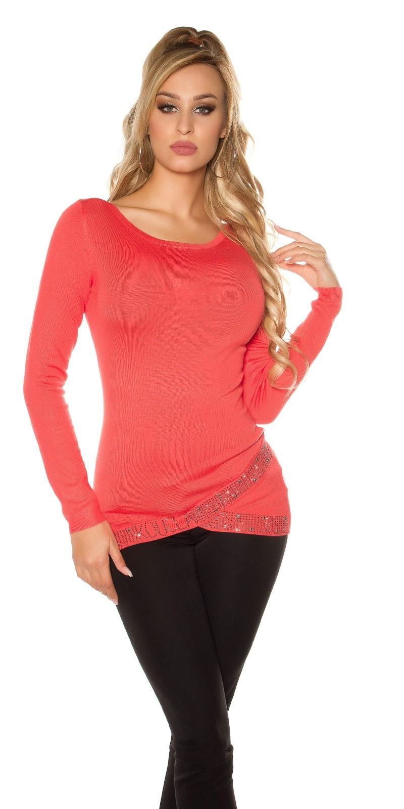 Sexy sweater-trui asymmetrisch kraag + strass steentjes koraal-kleurig