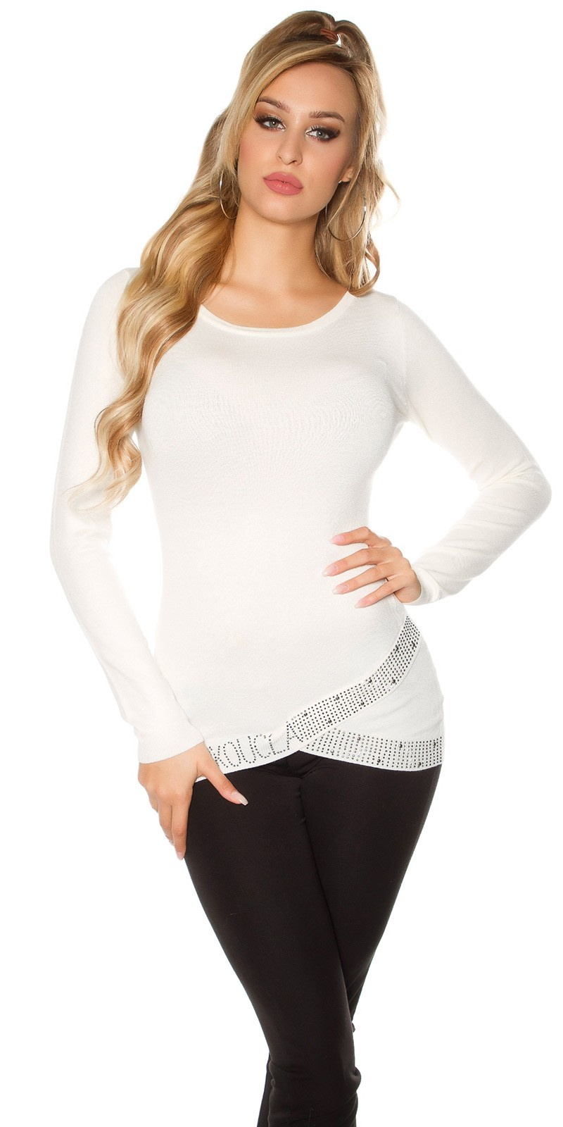 Sexy KouCla sweater asymmet. collar + rhinestones White