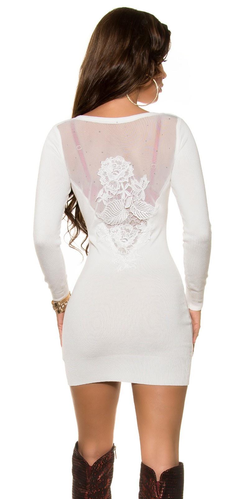 Sexy fijngebreide jurk met sexy rug cremewit