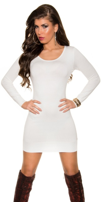 Sexy KouCla fineknit dress with sexy back Cream