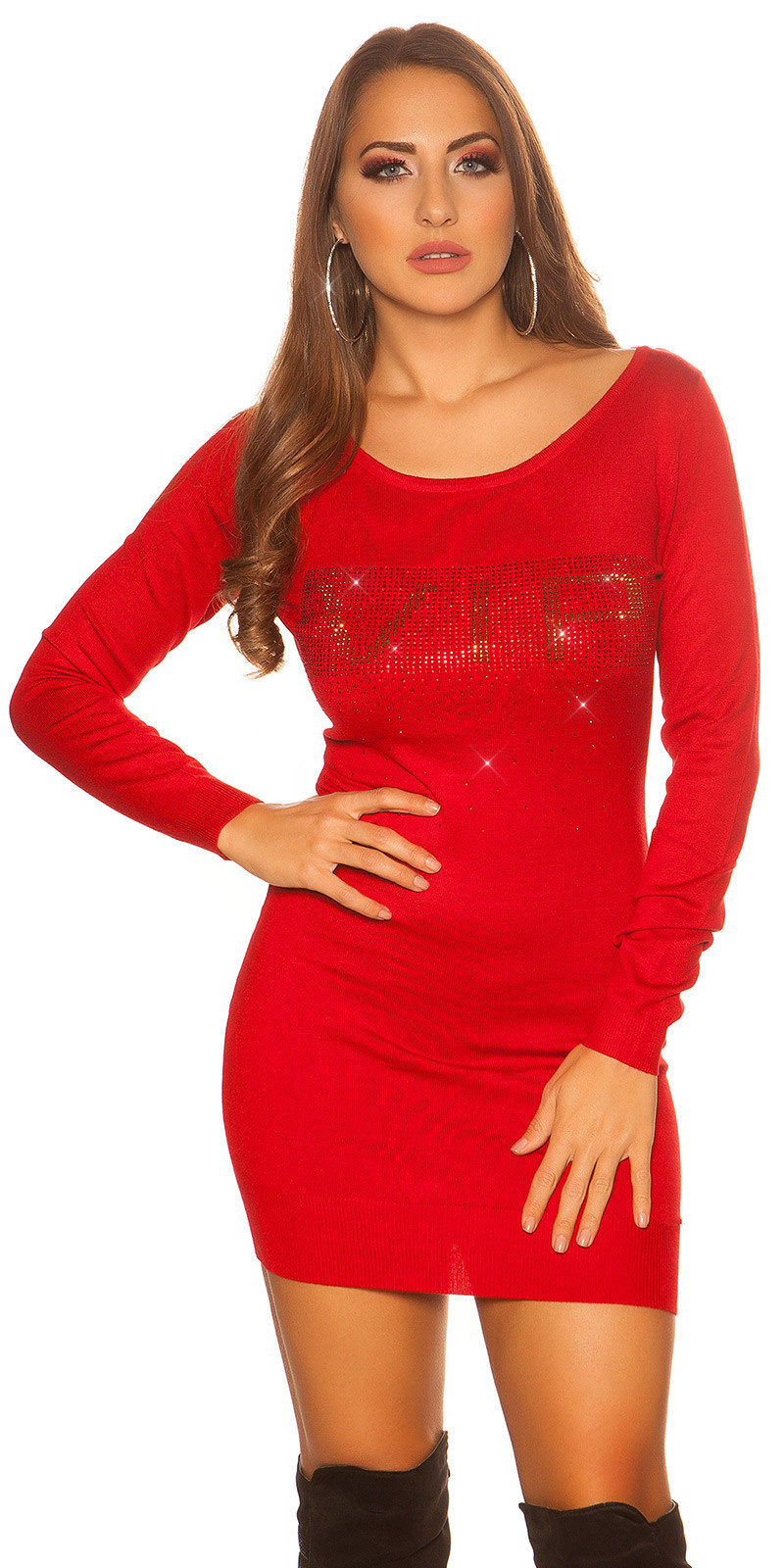 Sexy gebreide jurk + strass steentjes vip rood