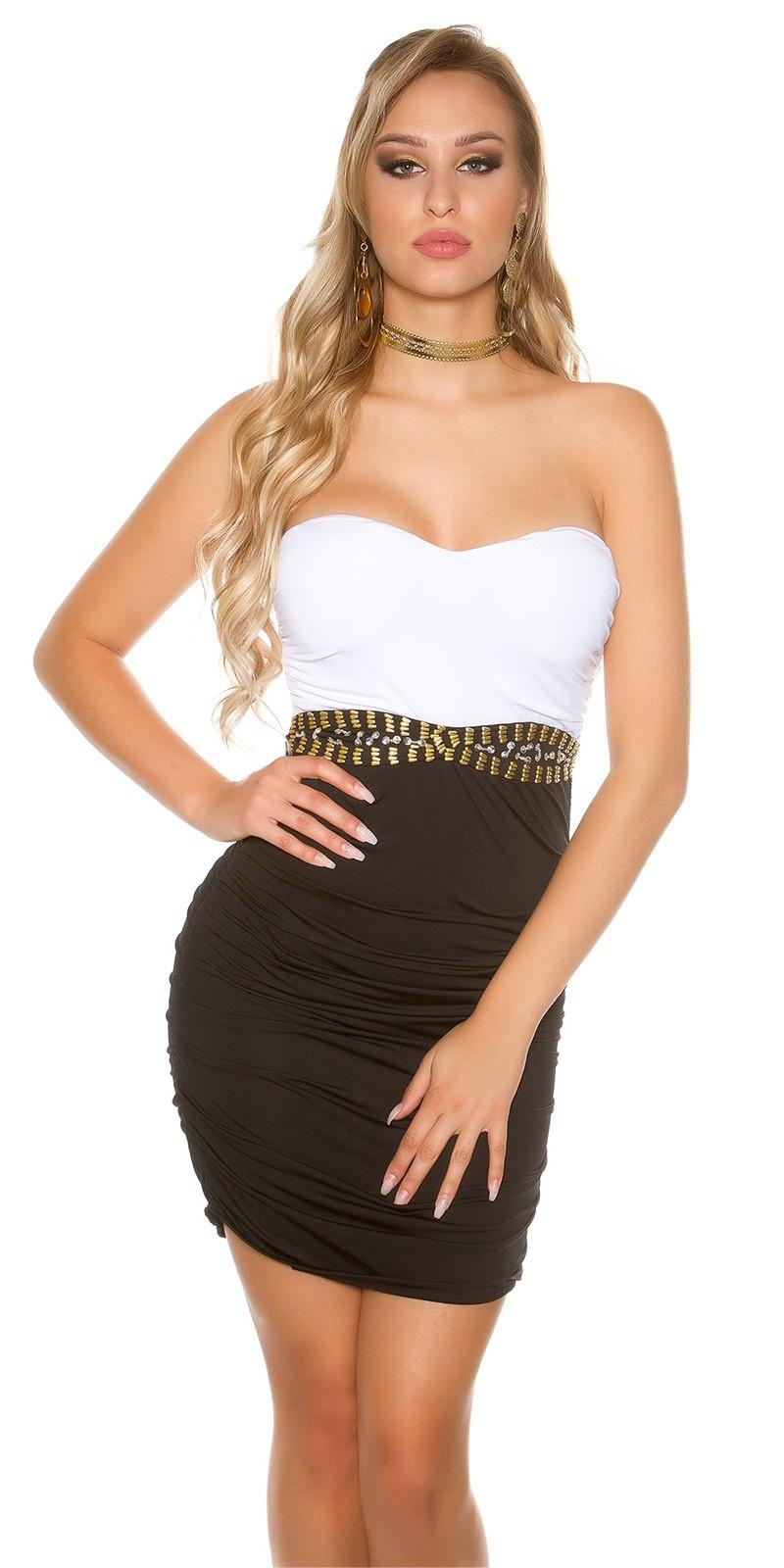 Sexy bandeau-mini jurkje bi-meerkleurig zwartwit