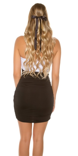 Sexy Bandeau-Mini dress Bi-Coloured Blackwhite