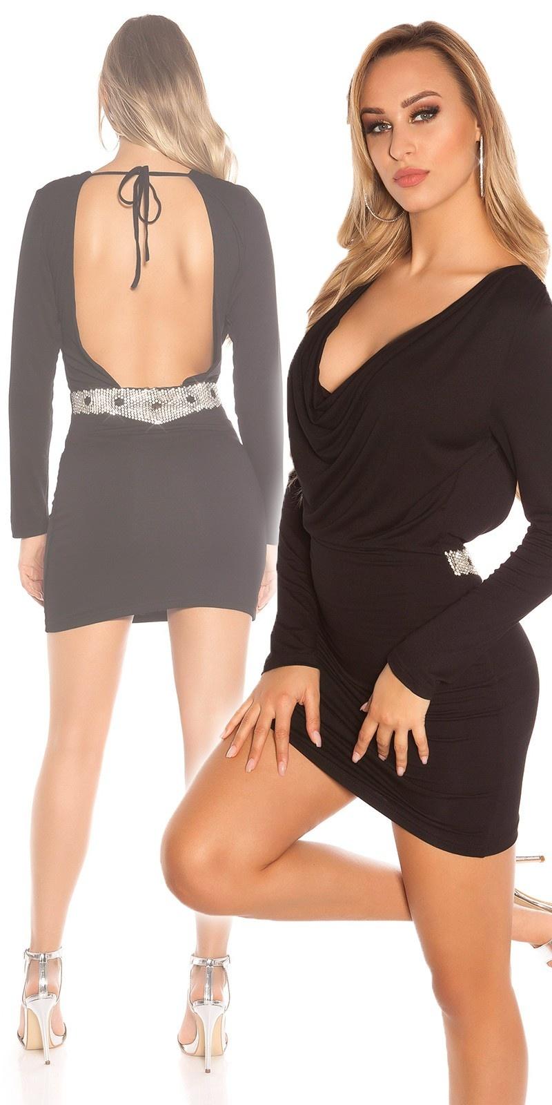 Sexy KouCla minidress, backfree w. rhinestones Black