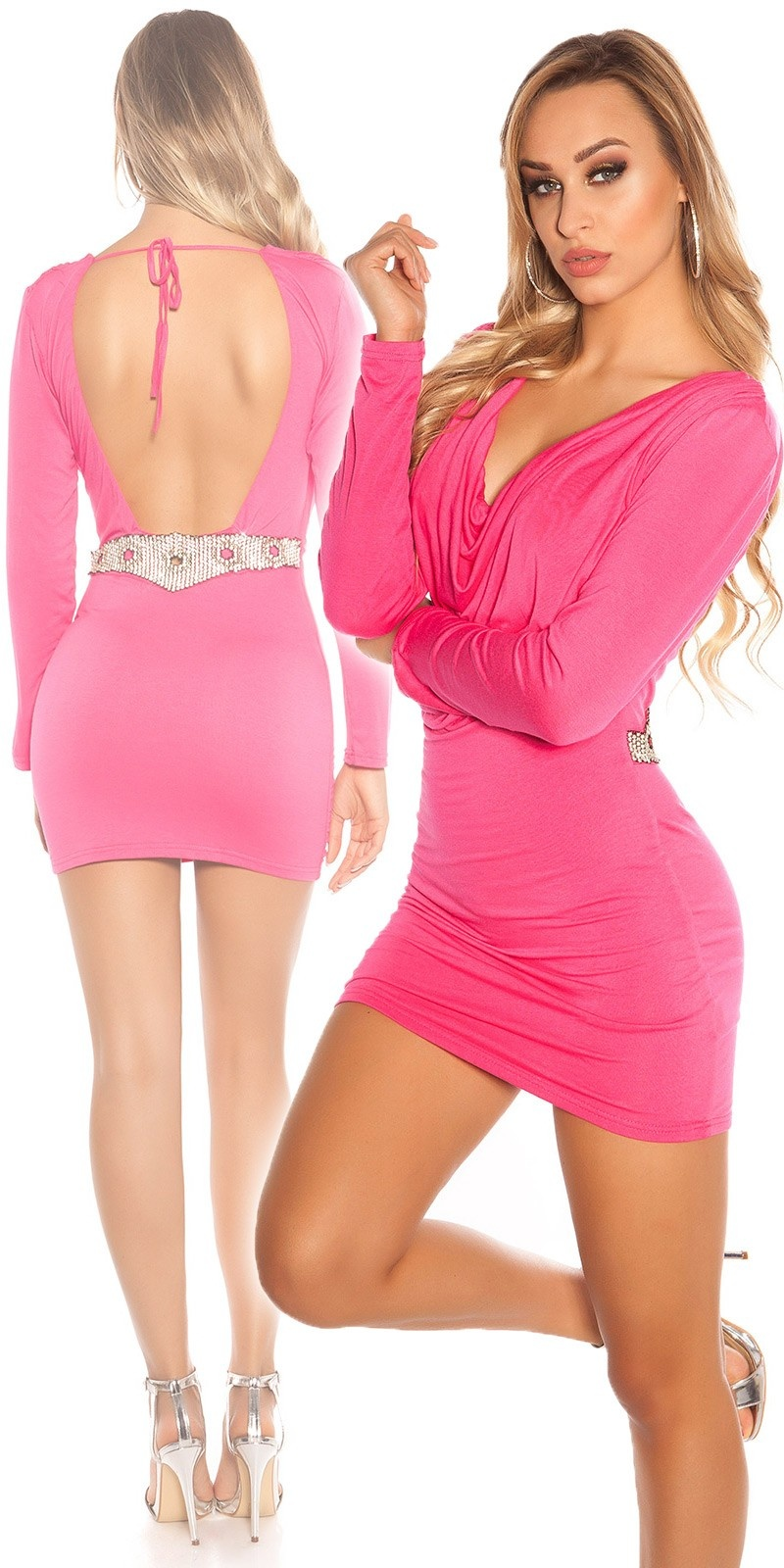 Sexy KouCla minidress, backfree w. rhinestones Fuchsia