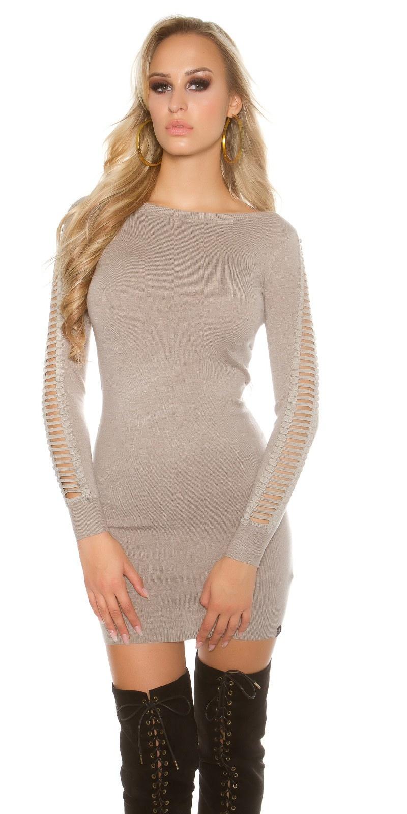 Sexy lange trui - mini jurkje met splits taupe