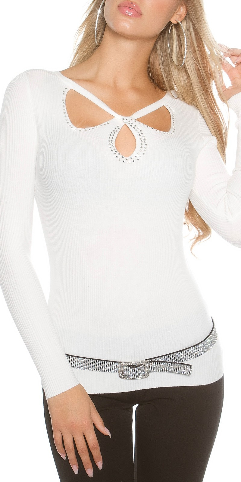 Sexy geribbelde trui met sexy inkijk wit