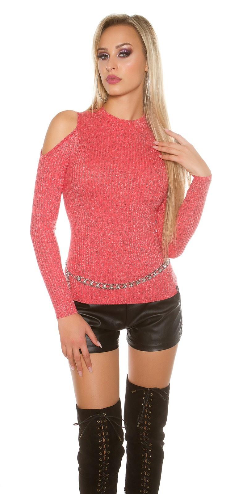 Sexy KouCla cold shoulder jumper + glitter threads Coral
