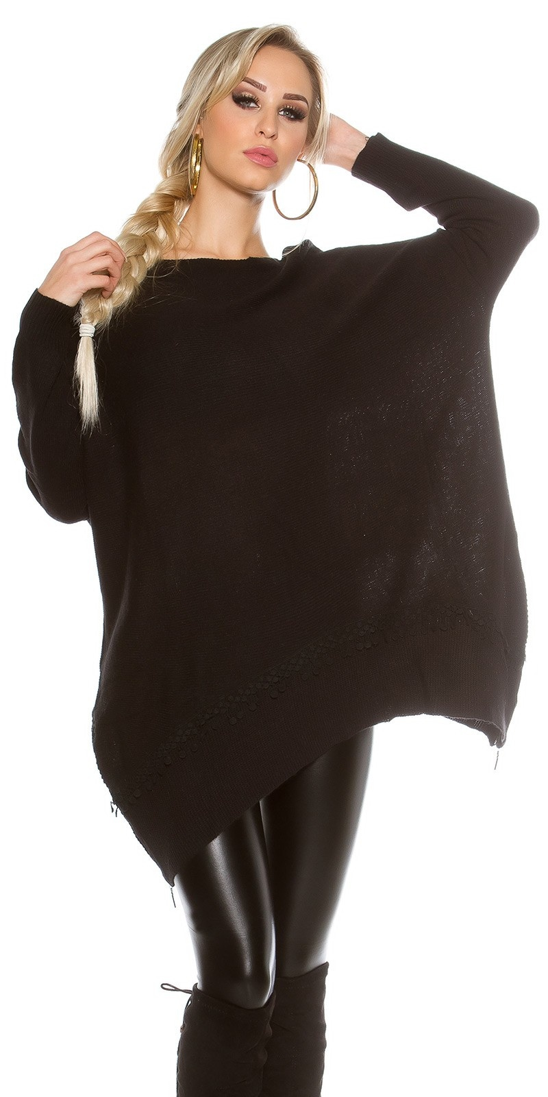 Oversized Trui met kant en ritsen Zwart