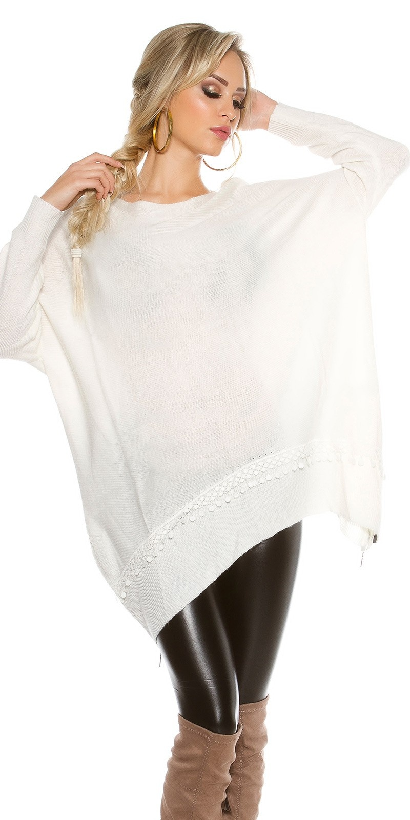 Oversize jumper with lace & zips White