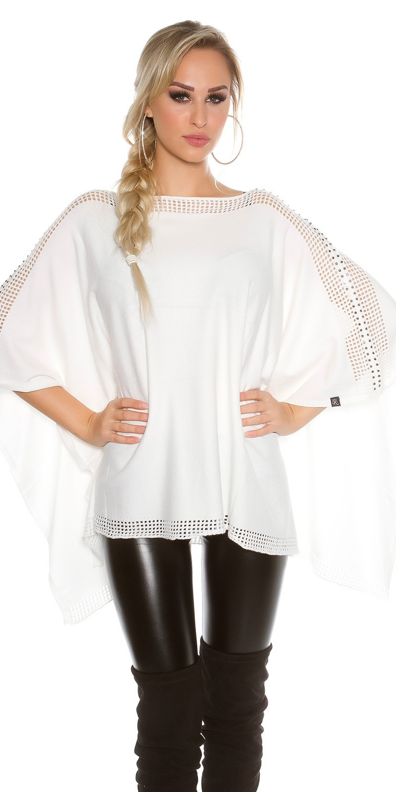 fine knit poncho with rhinestones White