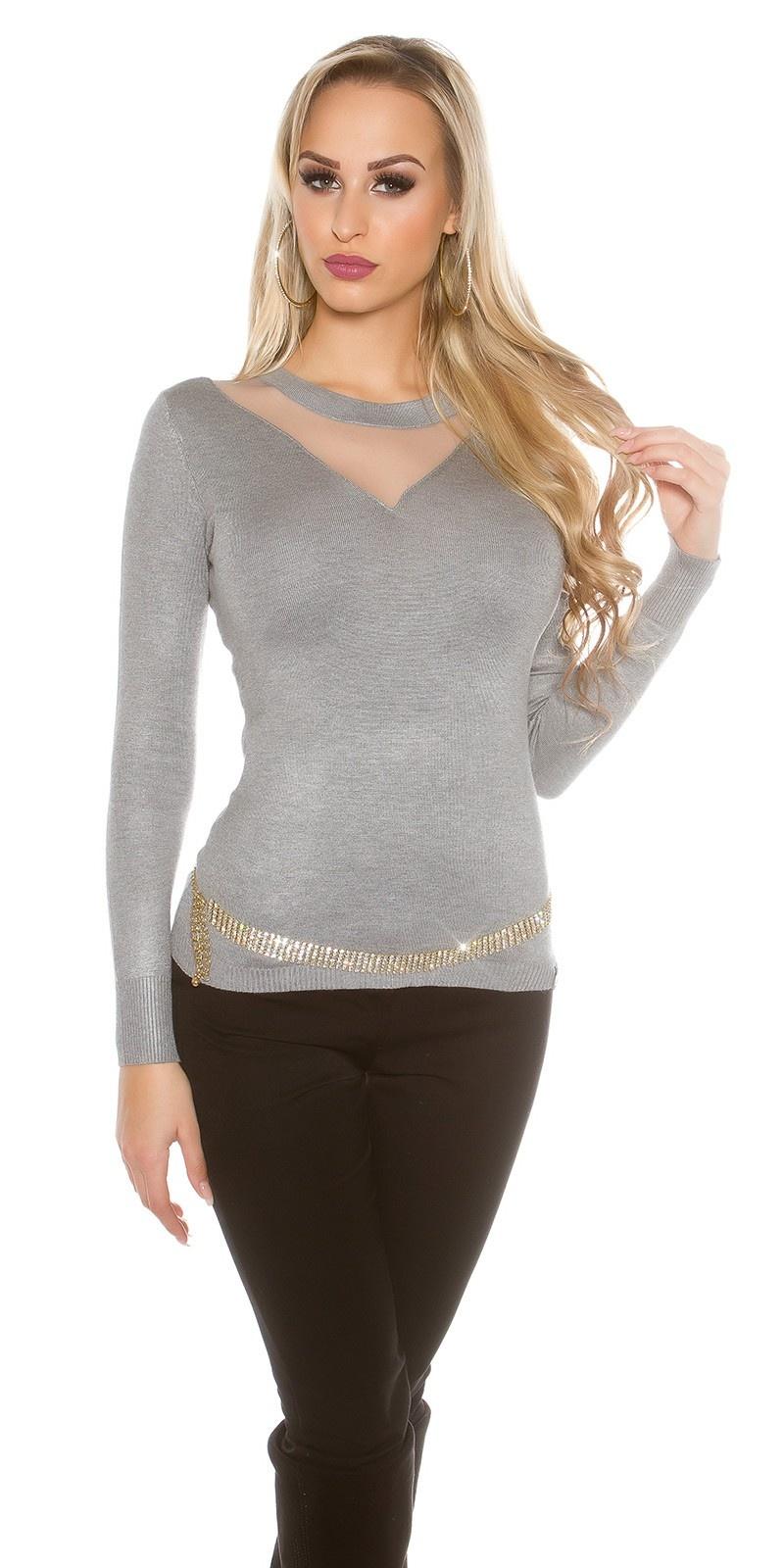 Sexy sweater-trui met gaasstof insert grijs
