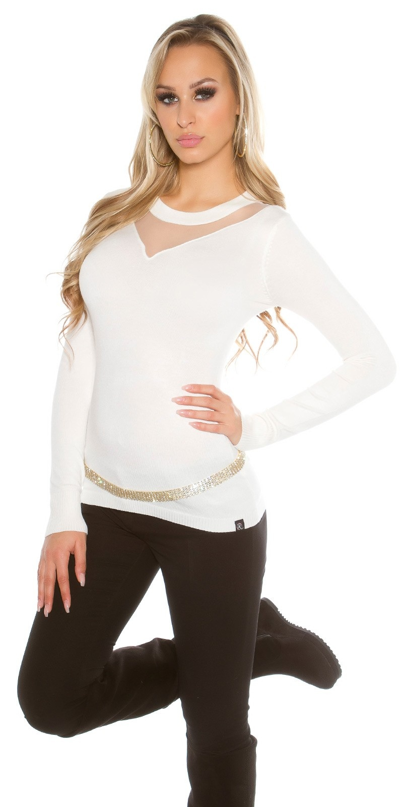Sexy sweater-trui met gaasstof insert wit