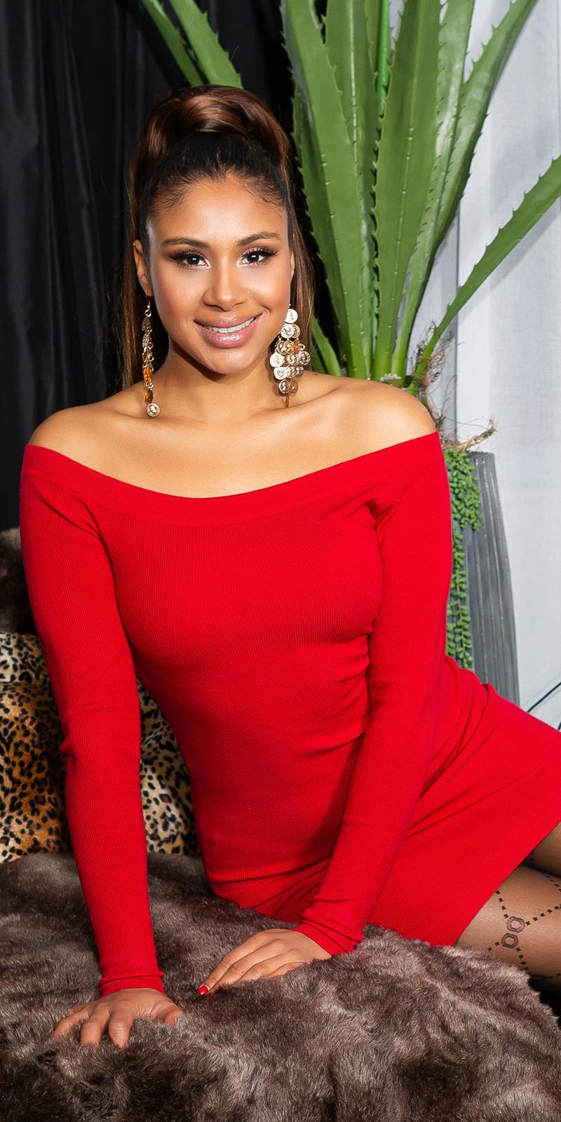 Sexy fijn gebreide jurk rood