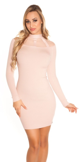 Sexy KouCla Ripp knit dress with mesh Antiquepink