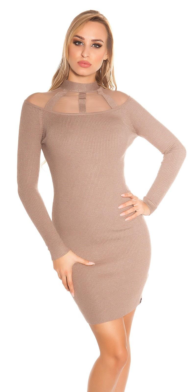 Sexy geribde gebreide jurk met gaasstof cappuccino