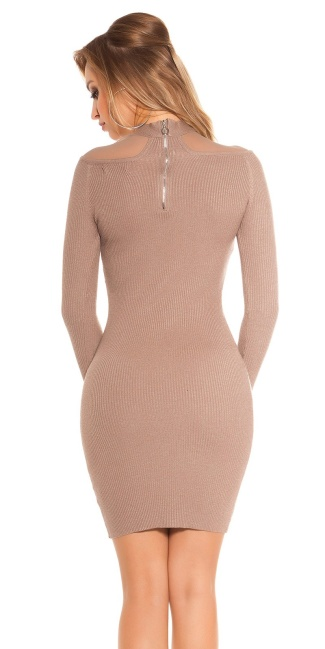 Sexy KouCla Ripp knit dress with mesh Cappuccino