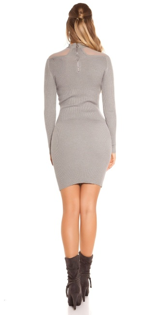 Sexy KouCla Ripp knit dress with mesh Grey