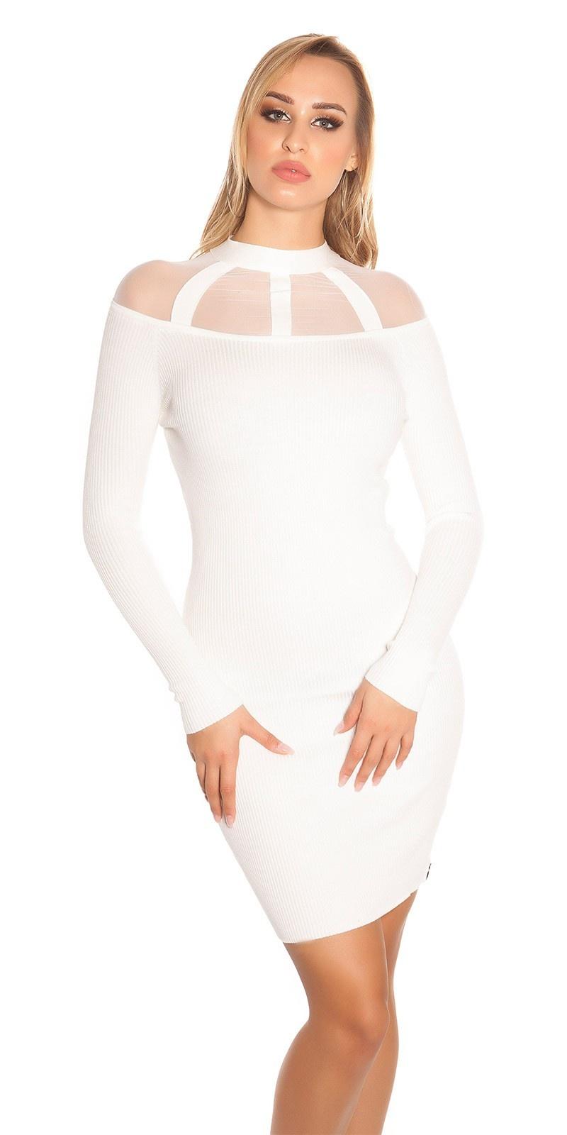 Sexy geribde gebreide jurk met gaasstof wit