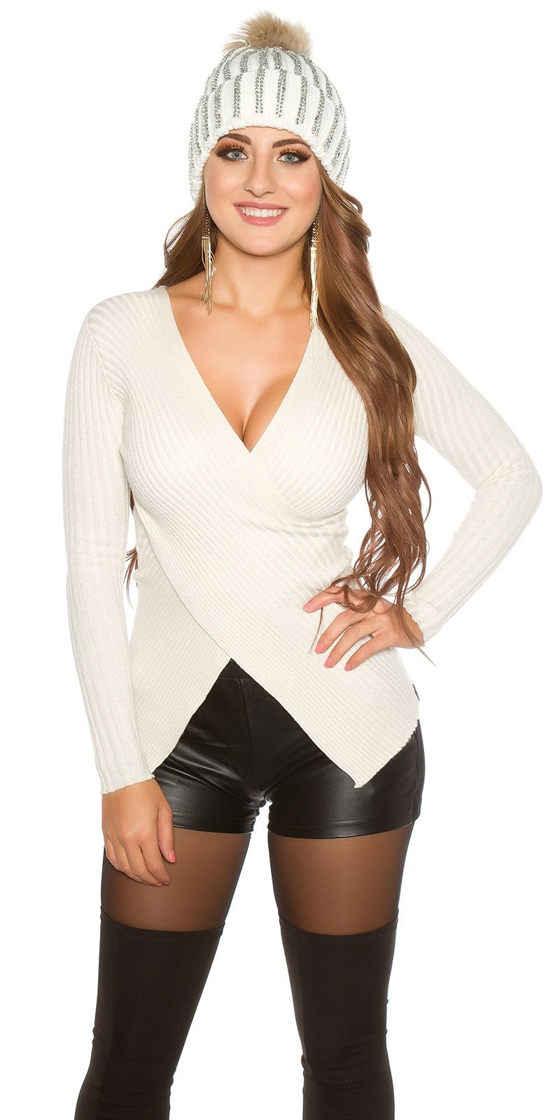 Sexy KouCla wrap look sweater with gold threads Beige
