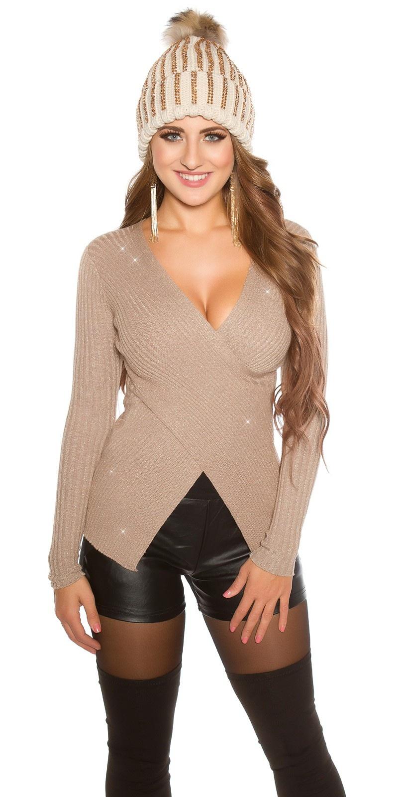 Sexy wikkel look sweater-trui met gouden draden cappuccino
