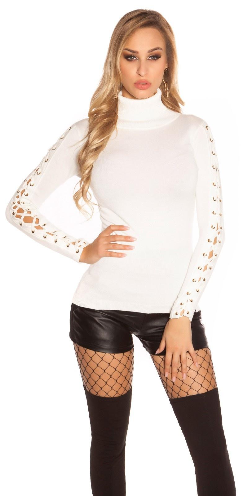 Trendy KouCla turtleneck jumper w. lace decoration White