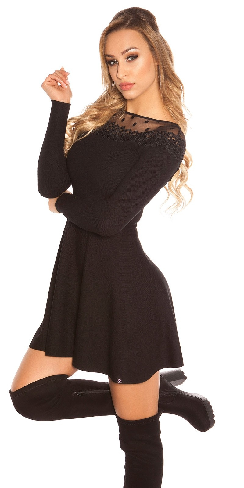Trendy KouCla knit dress with embroidery & mesh Black