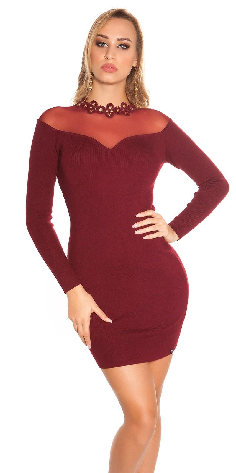 Sexy fijn gebreide jurk met gaasstof bordeaux